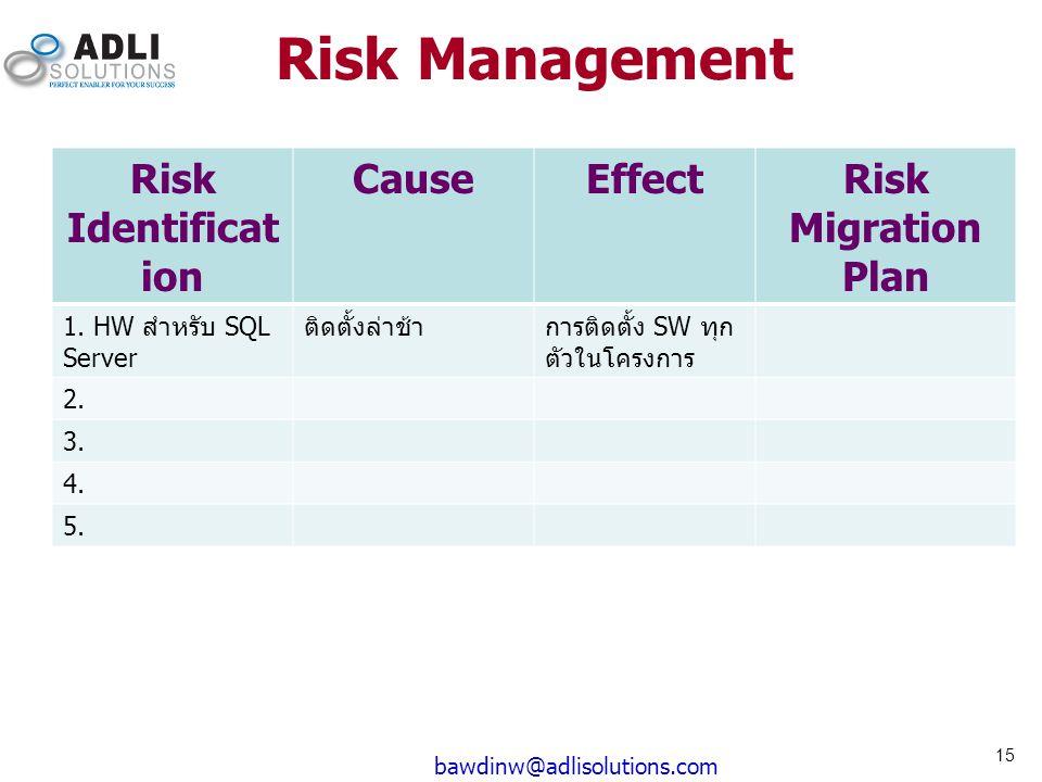 Risk Management Risk Identificat ion CauseEffectRisk Migration Plan 1. HW สำหรับ SQL Server ติดตั้งล่าช้าการติดตั้ง SW ทุก ตัวในโครงการ 2. 3. 4. 5. 15