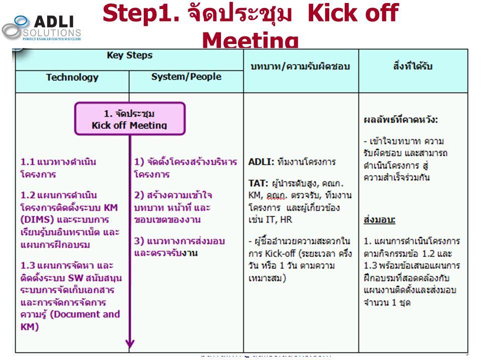 8 Step1. จัดประชุม Kick off Meeting