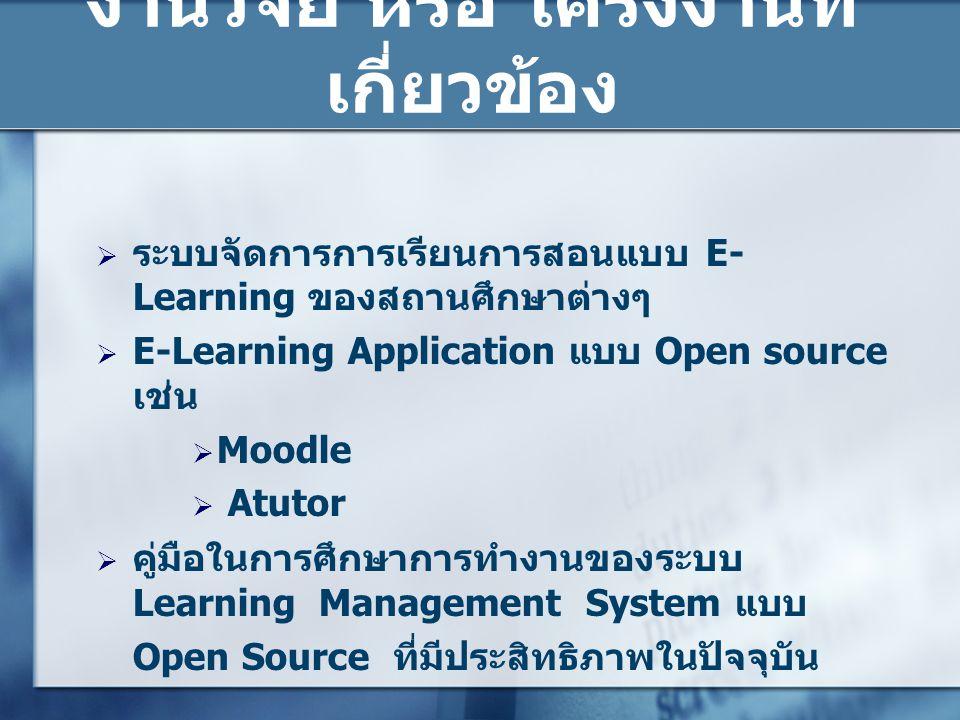 ระบบจัดการการเรียนการสอนแบบ E- Learning ของสถานศึกษาต่างๆ  E-Learning Application แบบ Open source เช่น  Moodle  Atutor  คู่มือในการศึกษาการทำงาน