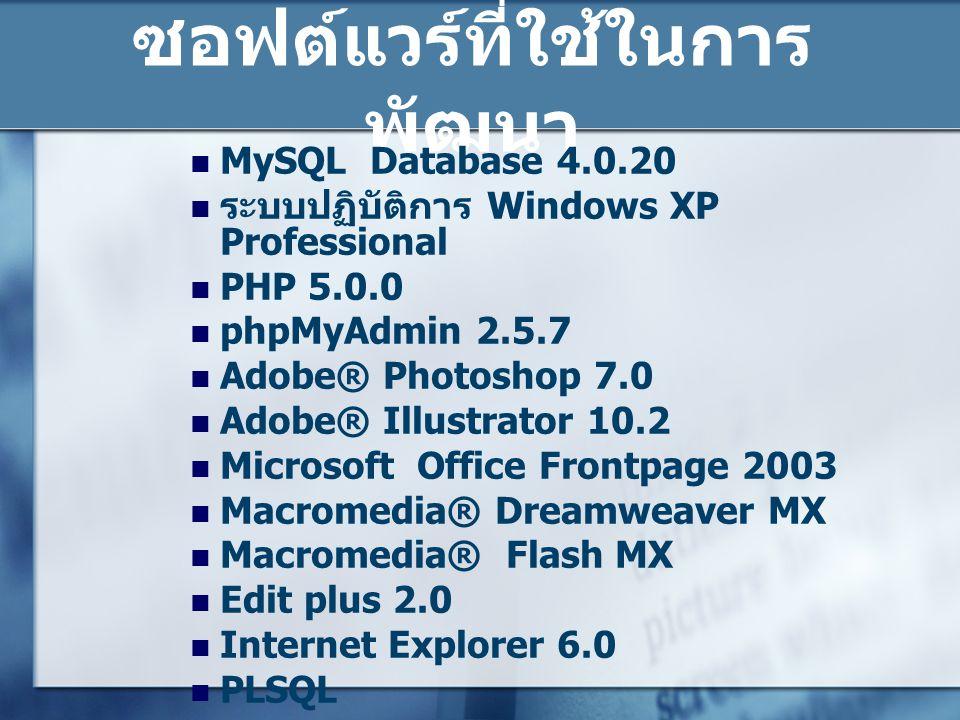 ซอฟต์แวร์ที่ใช้ในการ พัฒนา  MySQL Database 4.0.20  ระบบปฏิบัติการ Windows XP Professional  PHP 5.0.0  phpMyAdmin 2.5.7  Adobe® Photoshop 7.0  Ad