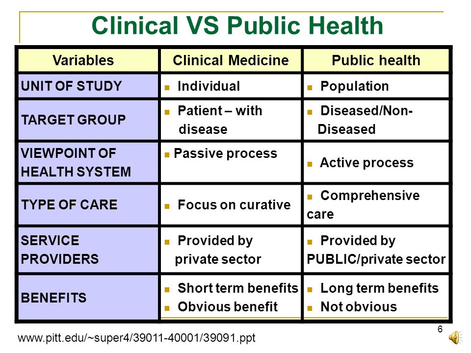 6 Clinical VS Public Health VariablesClinical MedicinePublic health UNIT OF STUDY  Individual  Population TARGET GROUP  Patient – with disease  Diseased/Non- Diseased VIEWPOINT OF HEALTH SYSTEM  Passive process  Active process TYPE OF CARE  Focus on curative  Comprehensive care SERVICE PROVIDERS  Provided by private sector  Provided by PUBLIC/private sector BENEFITS  Short term benefits  Obvious benefit  Long term benefits  Not obvious www.pitt.edu/~super4/39011-40001/39091.ppt