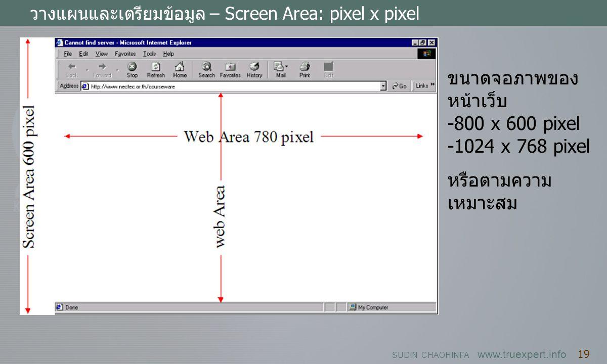 SUDIN CHAOHINFA www.truexpert.info 19 วางแผนและเตรียมข้อมูล – Screen Area: pixel x pixel ขนาดจอภาพของ หน้าเว็บ -800 x 600 pixel -1024 x 768 pixel หรือ