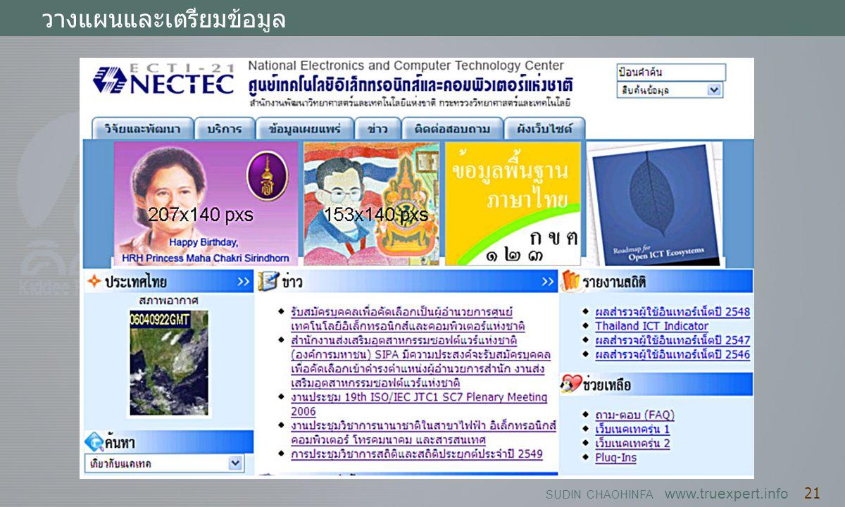 SUDIN CHAOHINFA www.truexpert.info 21 วางแผนและเตรียมข้อมูล