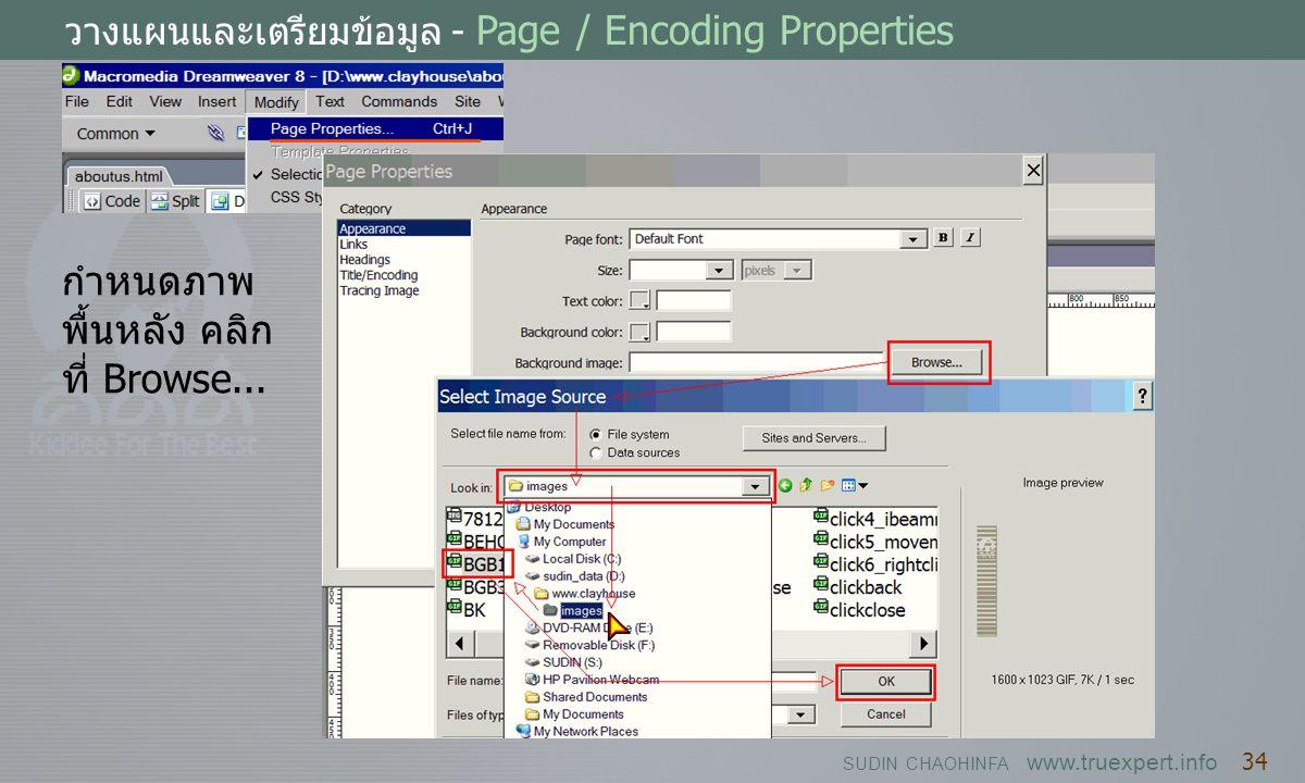 SUDIN CHAOHINFA www.truexpert.info 34 วางแผนและเตรียมข้อมูล - Page / Encoding Properties กำหนดภาพ พื้นหลัง คลิก ที่ Browse...