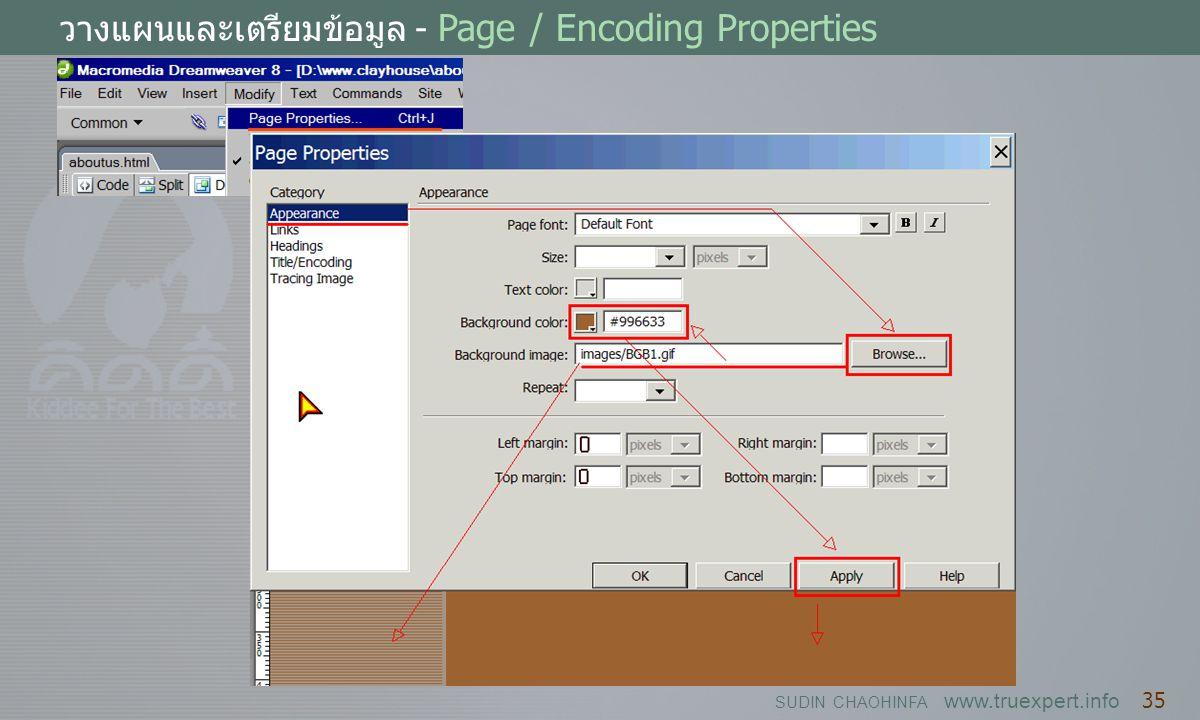 SUDIN CHAOHINFA www.truexpert.info 35 วางแผนและเตรียมข้อมูล - Page / Encoding Properties