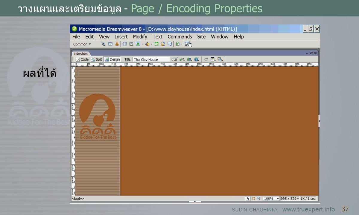 SUDIN CHAOHINFA www.truexpert.info 37 วางแผนและเตรียมข้อมูล - Page / Encoding Properties ผลที่ได้