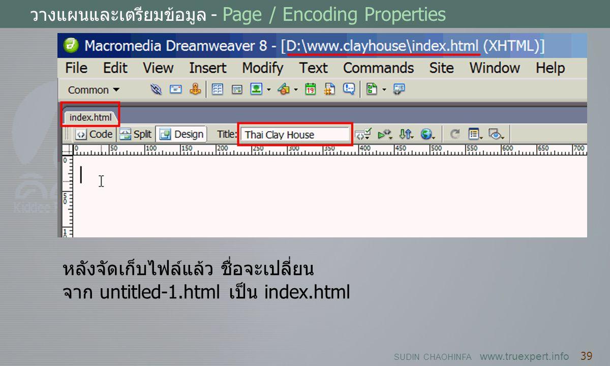 SUDIN CHAOHINFA www.truexpert.info 39 วางแผนและเตรียมข้อมูล - Page / Encoding Properties หลังจัดเก็บไฟล์แล้ว ชื่อจะเปลี่ยน จาก untitled-1.html เป็น in