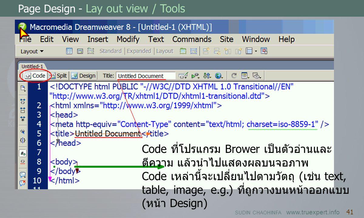 SUDIN CHAOHINFA www.truexpert.info 41 Page Design - Lay out view / Tools Code ที่โปรแกรม Brower เป็นตัวอ่านและ ตีความ แล้วนำไปแสดงผลบนจอภาพ Code เหล่า