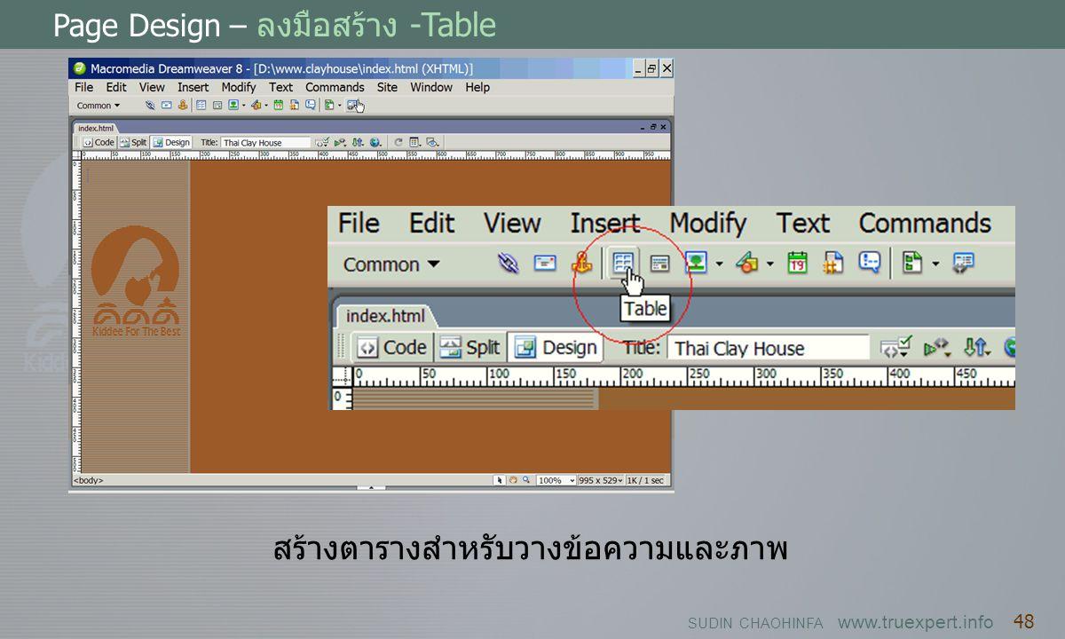 SUDIN CHAOHINFA www.truexpert.info 48 Page Design – ลงมือสร้าง -Table สร้างตารางสำหรับวางข้อความและภาพ