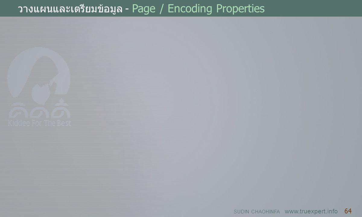 SUDIN CHAOHINFA www.truexpert.info 64 วางแผนและเตรียมข้อมูล - Page / Encoding Properties