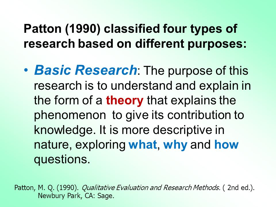 Patton (1990) classified four types of research based on different purposes: •Basic Research : The purpose of this research is to understand and explain in the form of a theory that explains the phenomenon to give its contribution to knowledge.