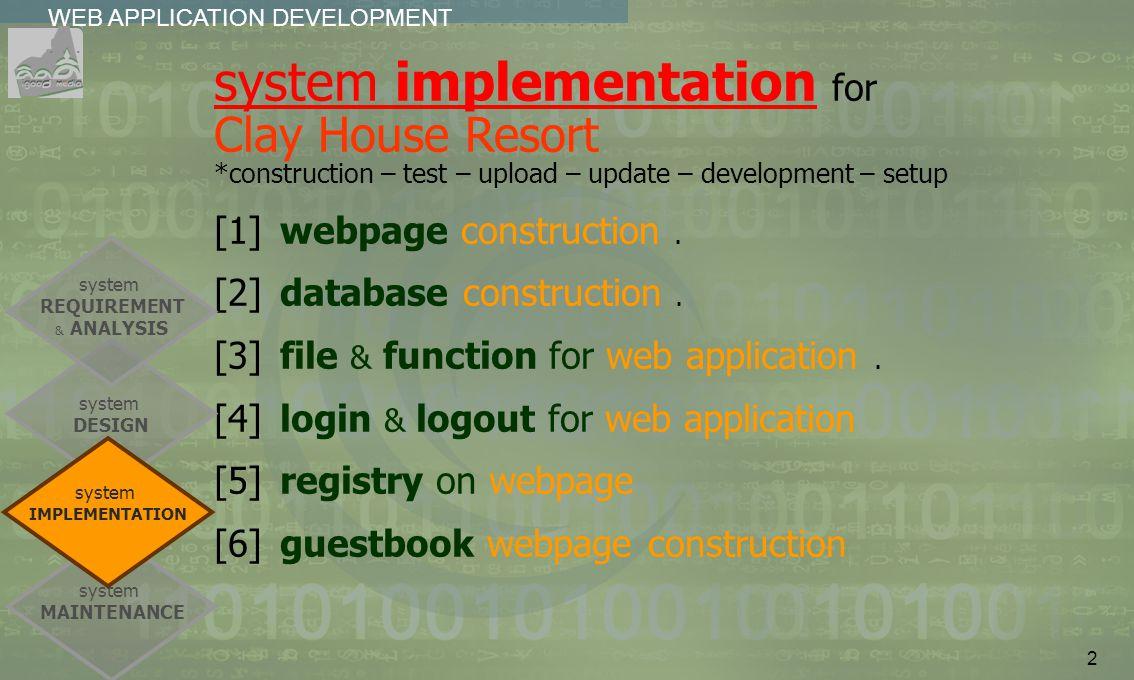 2 WEB APPLICATION DEVELOPMENT................ system implementation for Clay House Resort *construction – test – upload – update – development – setup