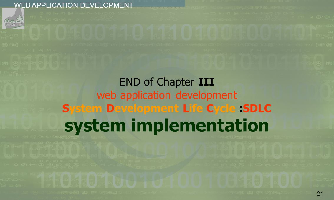 21 WEB APPLICATION DEVELOPMENT................ END of Chapter III web application development System Development Life Cycle :SDLC system implementatio