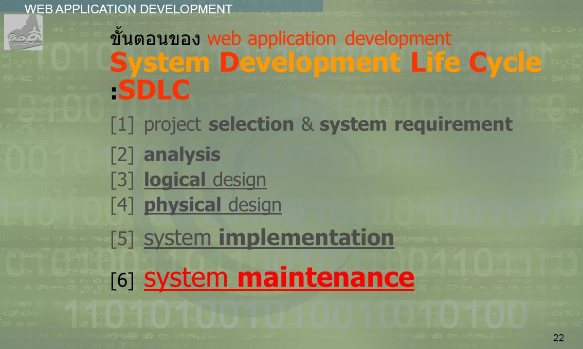 22 WEB APPLICATION DEVELOPMENT................ ขั้นตอนของ web application development System Development Life Cycle : SDLC [1]project selection & syst