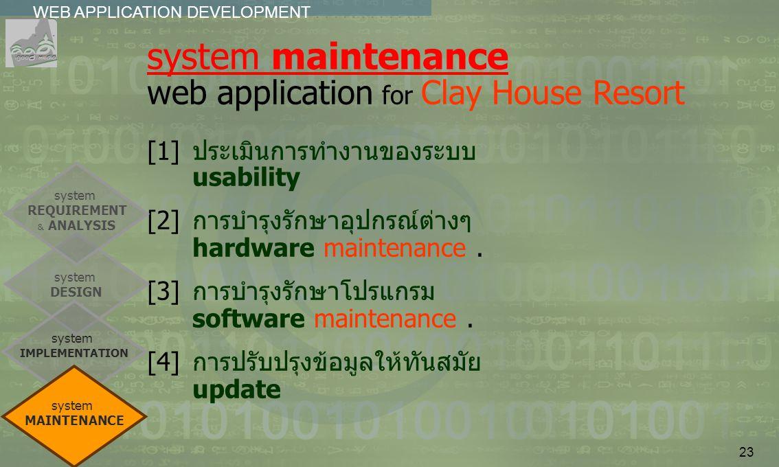 23 WEB APPLICATION DEVELOPMENT................ system maintenance web application for Clay House Resort [1]ประเมินการทำงานของระบบ usability [2]การบำรุ