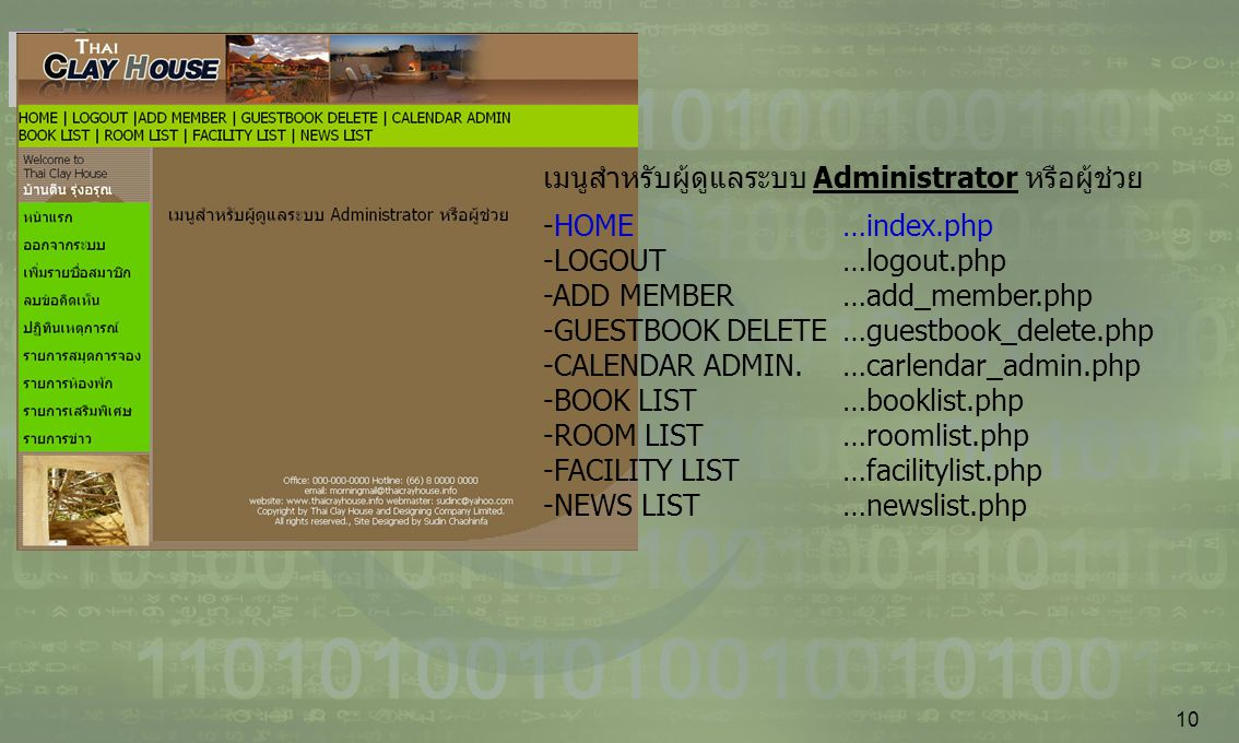 10 เมนูสำหรับผู้ดูแลระบบ Administrator หรือผู้ช่วย -HOME…index.php -LOGOUT…logout.php -ADD MEMBER …add_member.php -GUESTBOOK DELETE …guestbook_delete.php -CALENDAR ADMIN.…carlendar_admin.php -BOOK LIST…booklist.php -ROOM LIST…roomlist.php -FACILITY LIST…facilitylist.php -NEWS LIST…newslist.php