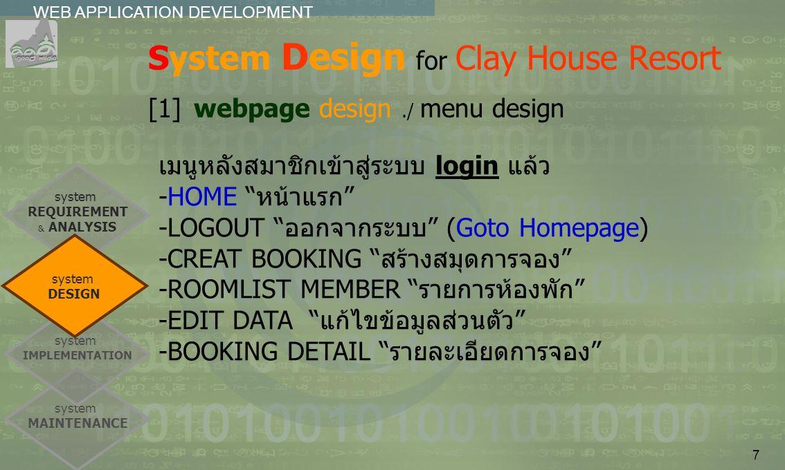 8 เมนูของสมาชิกลูกค้า (clients_menu.php) สำหรับสมาชิกเมื่อ login เข้าระบบแล้ว -HOME ---> index.php -LOGOUT ---> logout.php -CREAT BOOKING ---> creat_booking.php - ROOMLIST MEMBER ---> roomlist_member.php -EDIT DATA ---> edit_data.php -BOOKING DETAIL--->booking_detail.php