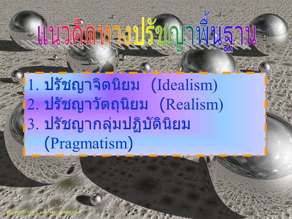 ปรัชญาพื้นฐาน ปรัชญาจิตนิยม Idealism ปรัชญาสัจนิยม / วัตถุนิยม Realism ปรัชญา ปฏิบัตินิยม Pragmatis m