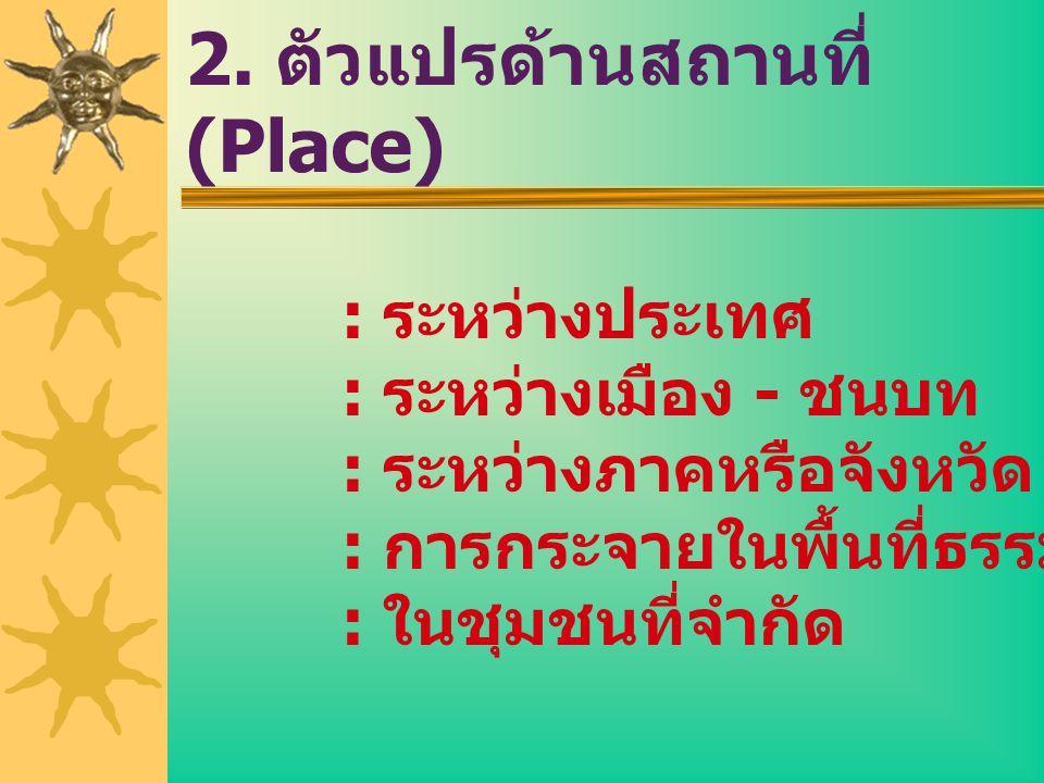 2. ตัวแปรด้านสถานที่ (Place) : ระหว่างประเทศ : ระหว่างเมือง - ชนบท : ระหว่างภาคหรือจังหวัด : การกระจายในพื้นที่ธรรมชาติ : ในชุมชนที่จำกัด