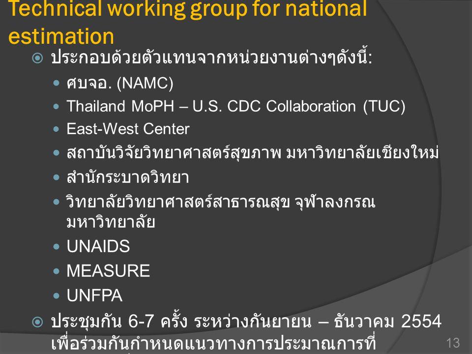 Technical working group for national estimation  ประกอบด้วยตัวแทนจากหน่วยงานต่างๆดังนี้ :  ศบจอ. (NAMC)  Thailand MoPH – U.S. CDC Collaboration (TU