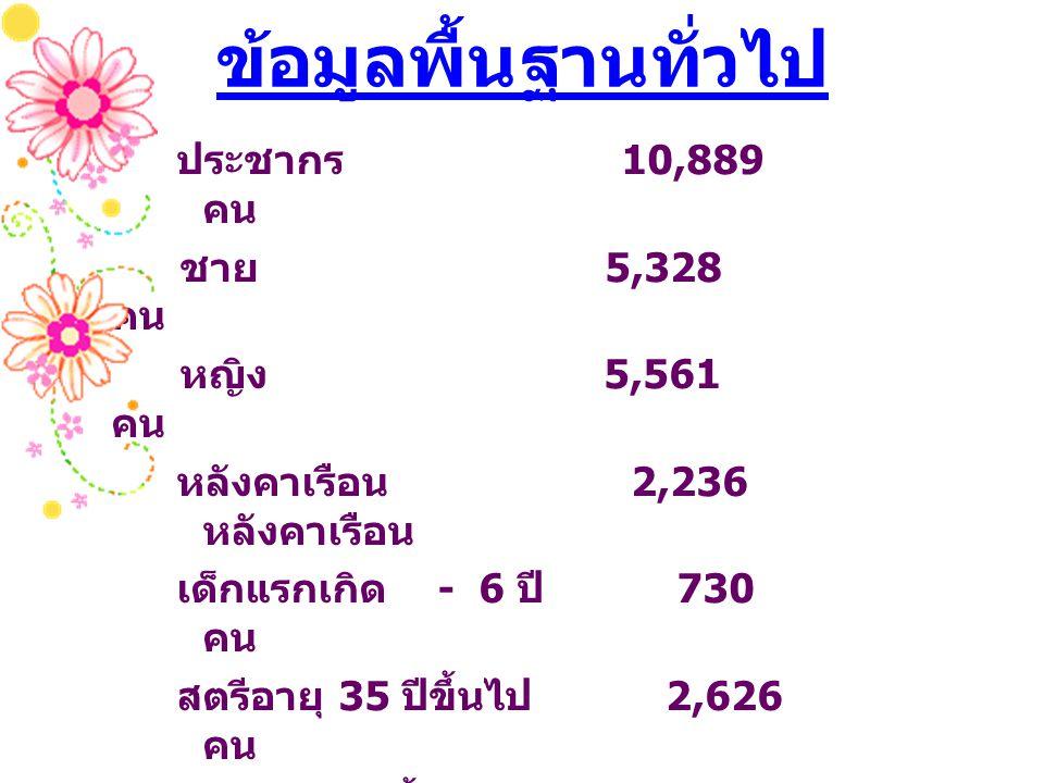 ข้อมูลพื้นฐานทั่วไป ประชากร 10,889 คน ชาย 5,328 คน หญิง 5,561 คน หลังคาเรือน 2,236 หลังคาเรือน เด็กแรกเกิด - 6 ปี 730 คน สตรีอายุ 35 ปีขึ้นไป 2,626 คน