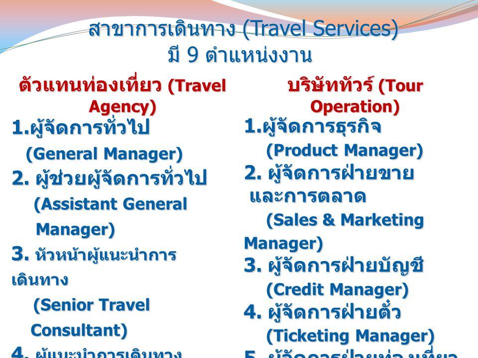 สาขาการเดินทาง (Travel Services) มี 9 ตำแหน่งงาน สาขาการเดินทาง (Travel Services) มี 9 ตำแหน่งงาน ตัวแทนท่องเที่ยว (Travel Agency) 1. ผู้จัดการทั่วไป