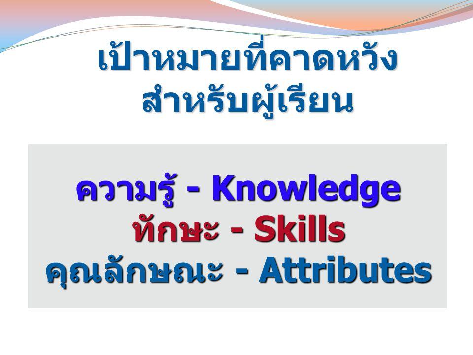 ความรู้ - Knowledge ทักษะ - Skills คุณลักษณะ - Attributes เป้าหมายที่คาดหวังสำหรับผู้เรียน