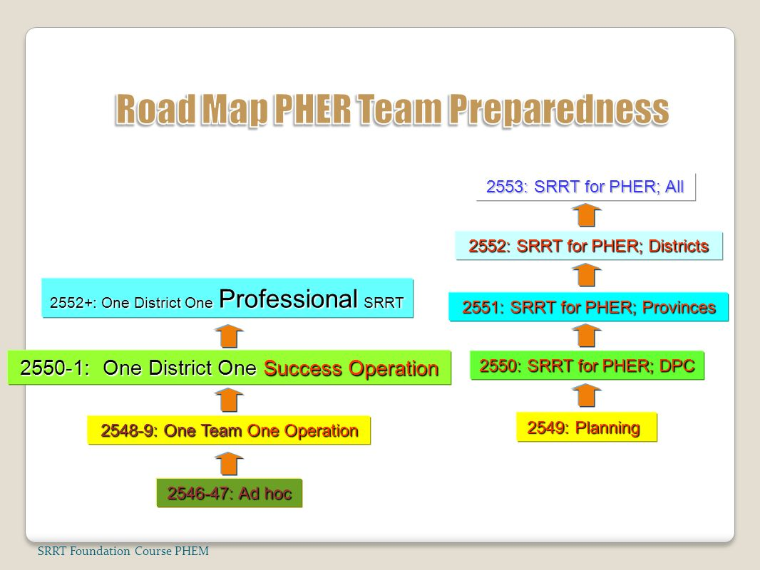 2546-47: Ad hoc 2548-9: One Team One Operation 2550-1: One District One Success Operation 2552+: One District One Professional SRRT 2549: Planning 255