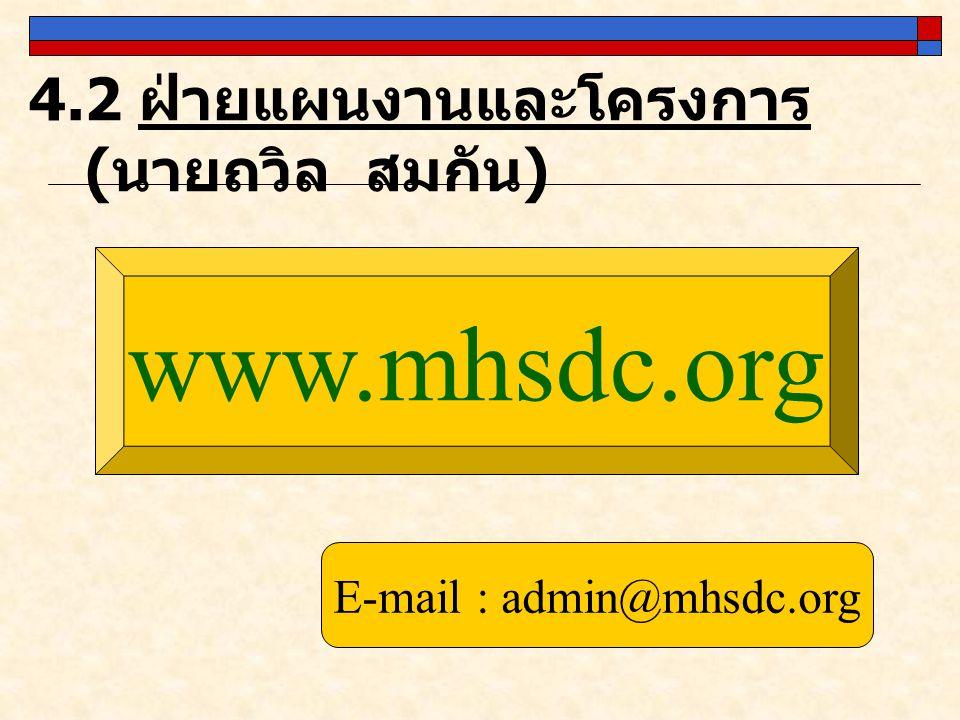 4.2 ฝ่ายแผนงานและโครงการ ( นายถวิล สมกัน ) www.mhsdc.org E-mail : admin@mhsdc.org