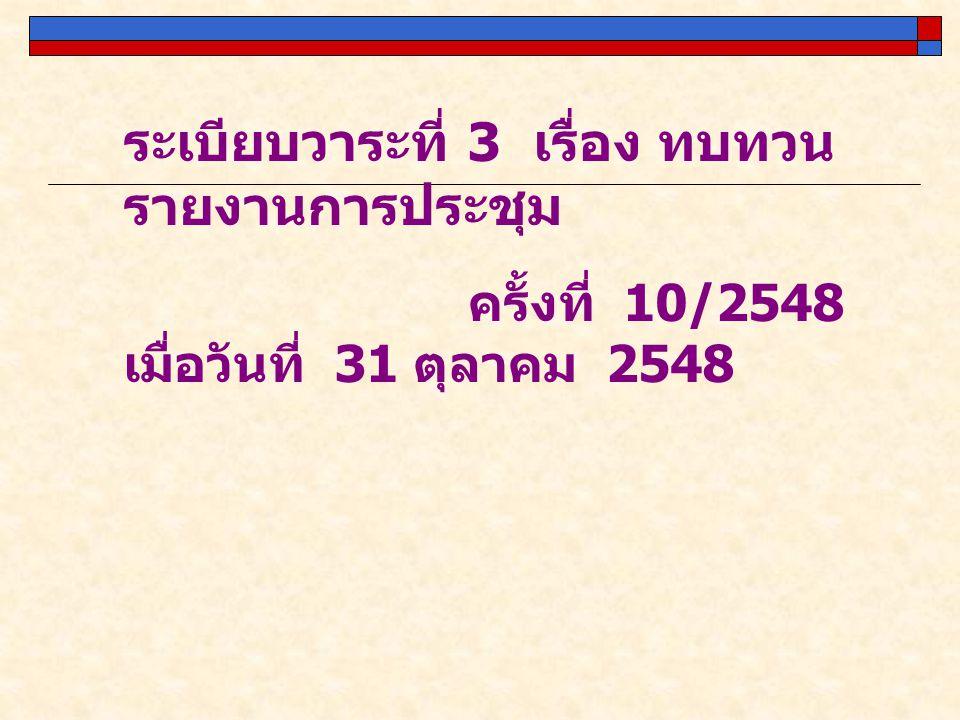 ระเบียบวาระที่ 3 เรื่อง ทบทวน รายงานการประชุม ครั้งที่ 10/2548 เมื่อวันที่ 31 ตุลาคม 2548