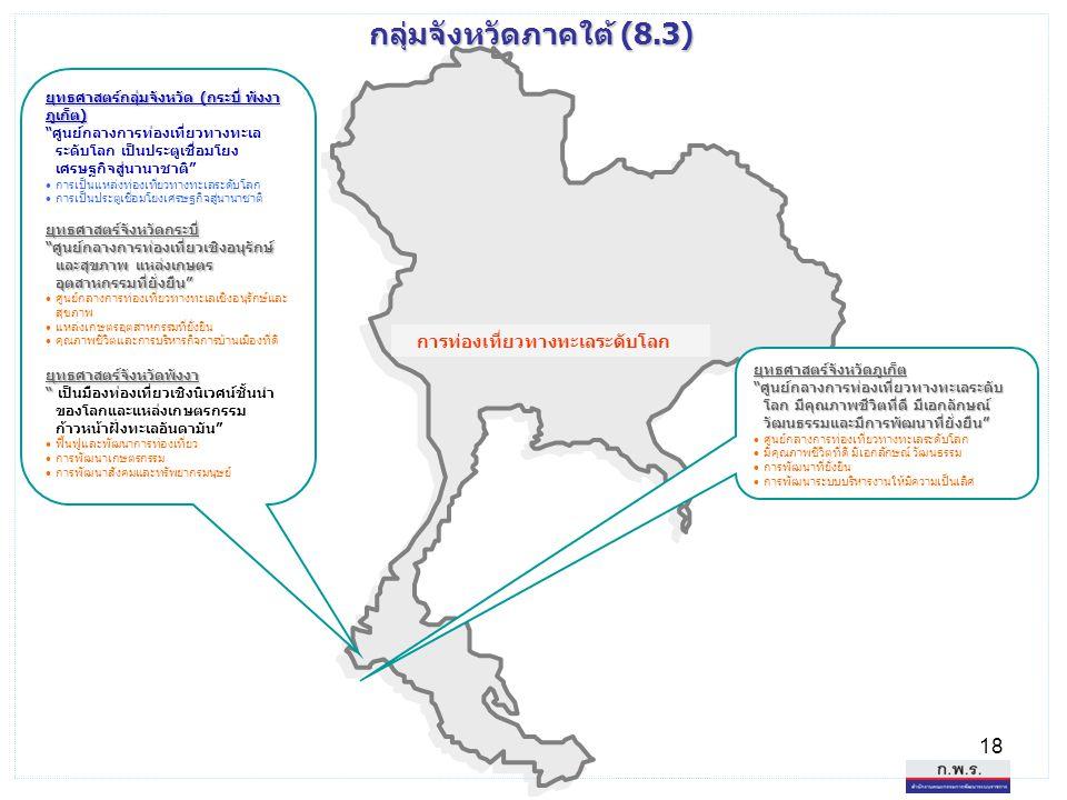 """18 กลุ่มจังหวัดภาคใต้ (8.3) ยุทธศาสตร์กลุ่มจังหวัด (กระบี่ พังงา ภูเก็ต) """"ศูนย์กลางการท่องเที่ยวทางทะเล ระดับโลก เป็นประตูเชื่อมโยง เศรษฐกิจสู่นานาชาต"""