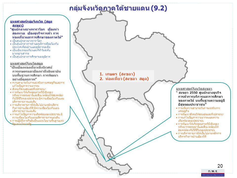 """20 กลุ่มจังหวัดภาคใต้ชายแดน (9.2) ยุทธศาสตร์กลุ่มจังหวัด (สตูล สงขลา) """"ศูนย์กลางยางพาราโลก เมืองท่า สองทะเล เมืองธุรกิจการค้า การ ท่องเที่ยวและการศึกษ"""