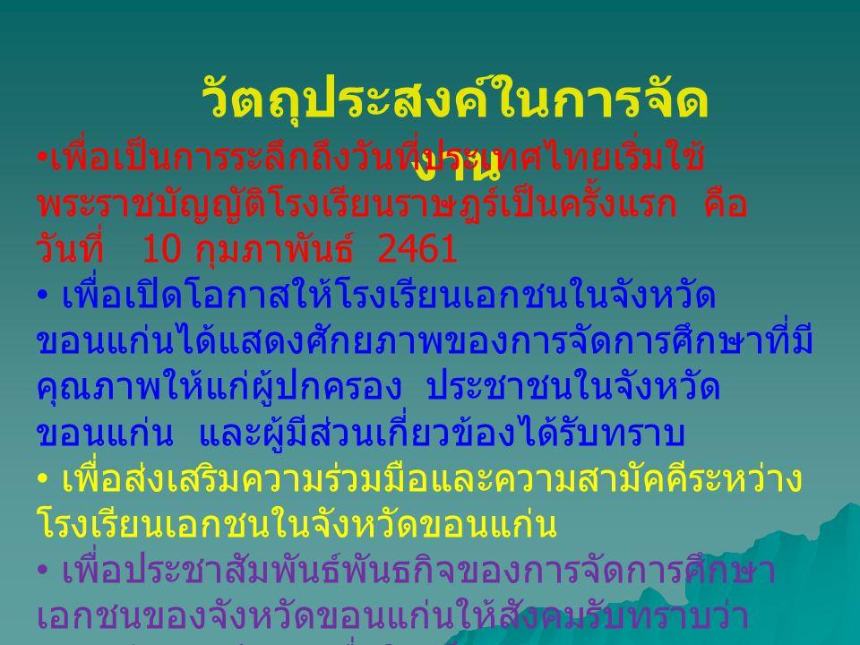 วัตถุประสงค์ในการจัด งาน • เพื่อเป็นการระลึกถึงวันที่ประเทศไทยเริ่มใช้ พระราชบัญญัติโรงเรียนราษฎร์เป็นครั้งแรก คือ วันที่ 10 กุมภาพันธ์ 2461 • เพื่อเป