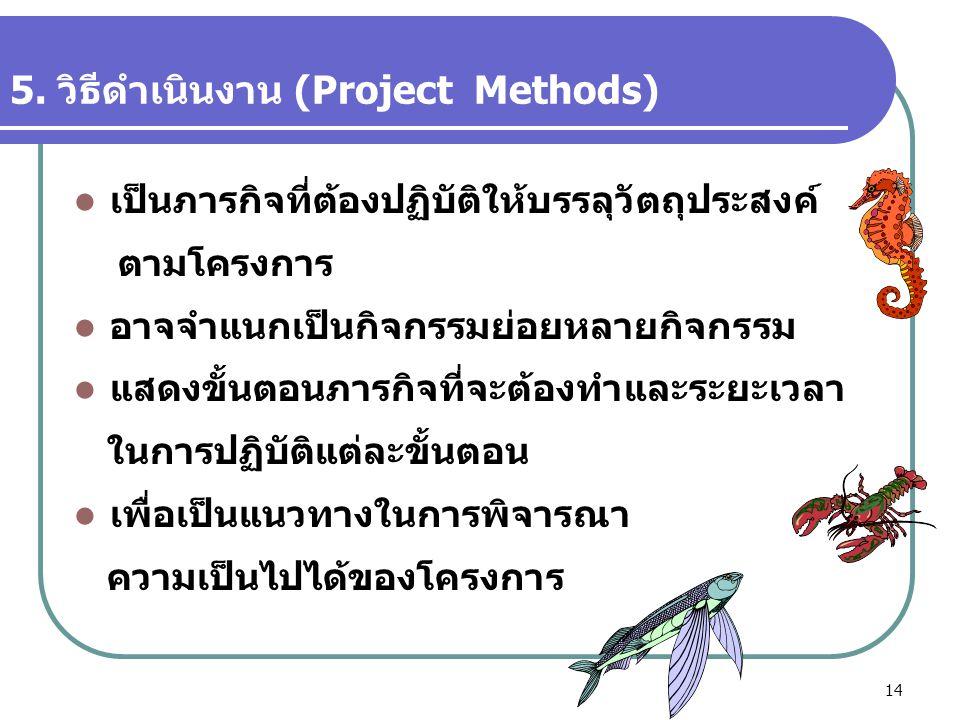 14 5. วิธีดำเนินงาน (Project Methods)  เป็นภารกิจที่ต้องปฏิบัติให้บรรลุวัตถุประสงค์ ตามโครงการ  อาจจำแนกเป็นกิจกรรมย่อยหลายกิจกรรม  แสดงขั้นตอนภารก