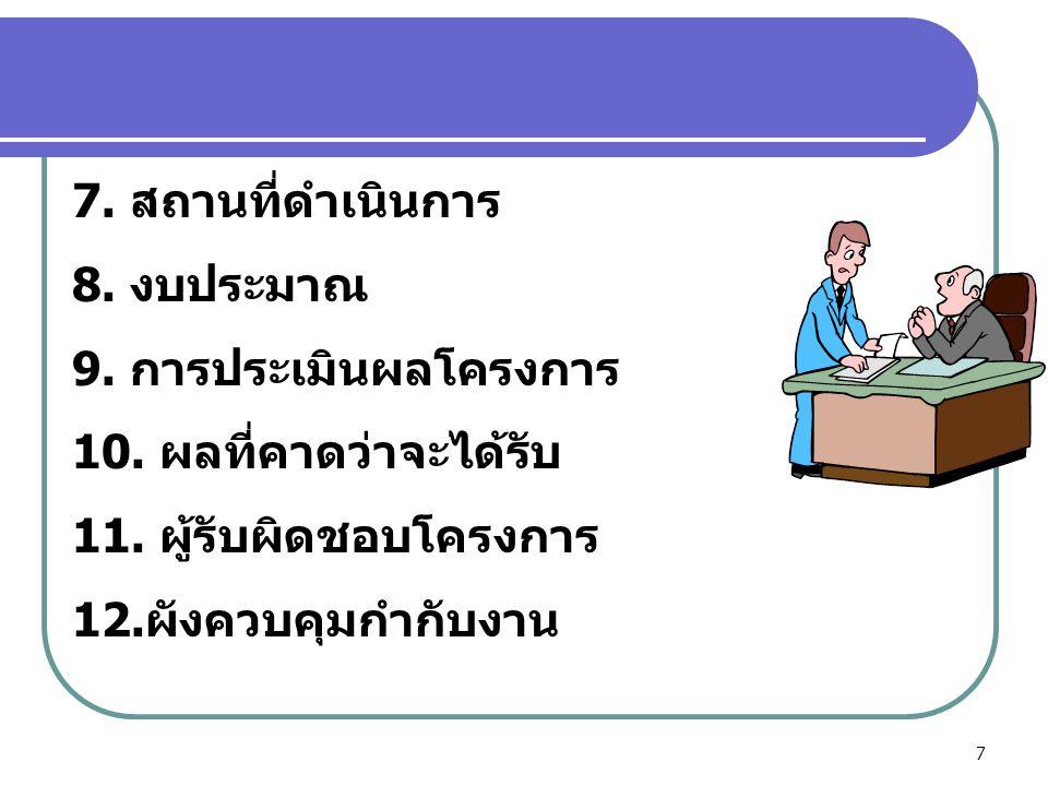 7 7. สถานที่ดำเนินการ 8. งบประมาณ 9. การประเมินผลโครงการ 10. ผลที่คาดว่าจะได้รับ 11. ผู้รับผิดชอบโครงการ 12.ผังควบคุมกำกับงาน