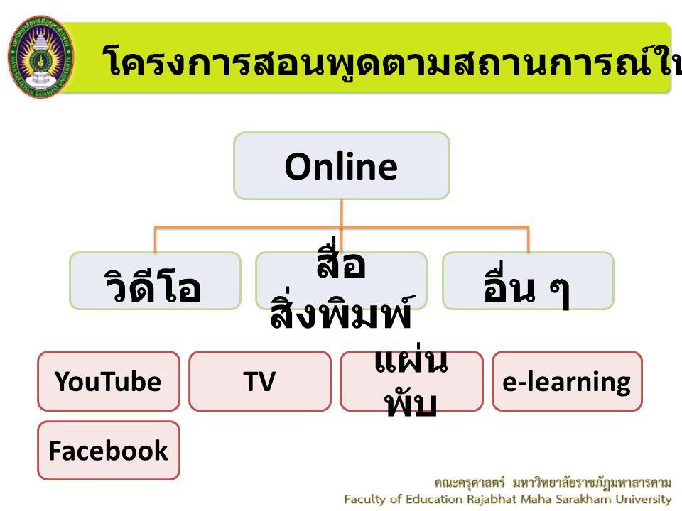 โครงการสอนพูดตามสถานการณ์ให้ประชากรทั่วไป Online วิดีโอ YouTube สื่อ สิ่งพิมพ์ อื่น ๆ TV แผ่น พับ e-learning Facebook