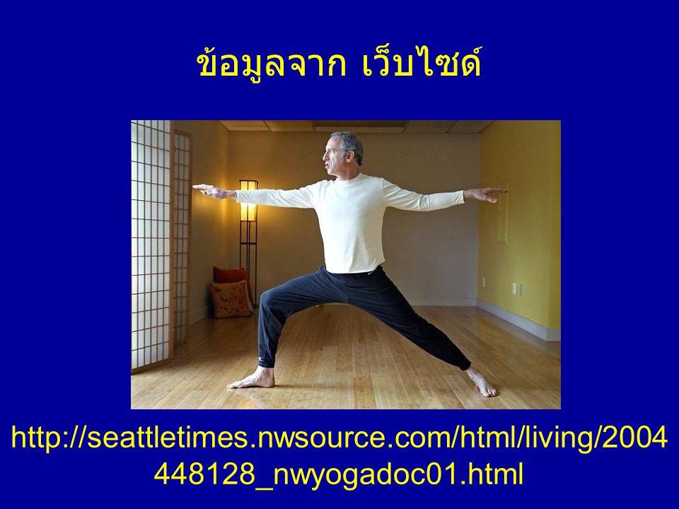 อ้างอิงจาก 1.15-MINUTE YOGA โดย GODFREY DEVEREUX 2.Inmagine.com 3.Yogaasana website 4.Wikipedia 5.www.metmuseum.org/toah/hd/buda/hd_buda.htmwww.metmuseum.org/toah/hd/buda/hd_buda.htm 6.http://en.wikipedia.org/wiki/Gautama_Buddha#Departure_and_As cetic_Life 7.http://www.crystalinks.com/induscivilization.htmlhttp://www.crystalinks.com/induscivilization.html 8.http://mindmasterclass.com/tag/yogi-swatmarama/http://mindmasterclass.com/tag/yogi-swatmarama/ 9.http://seattletimes.nwsource.com/html/living/2004448128_nwyoga doc01.htmlhttp://seattletimes.nwsource.com/html/living/2004448128_nwyoga doc01.html 10.http://www.oknation.net/blog/print.php?id=53954