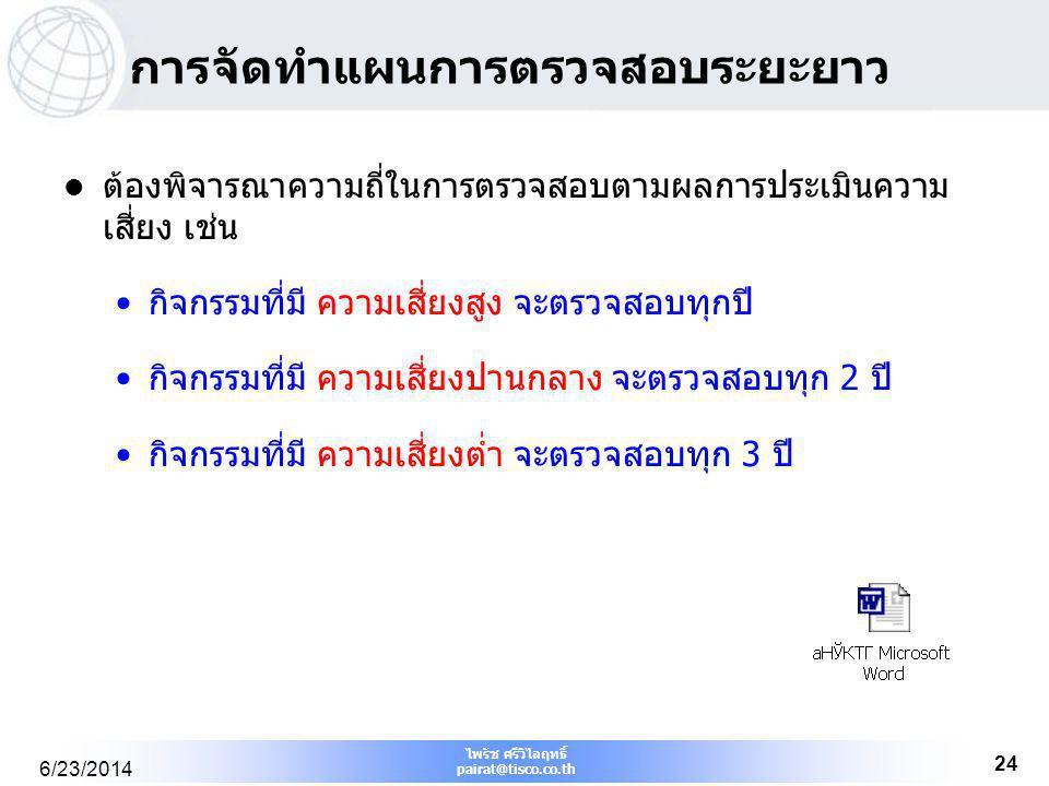 ไพรัช ศรีวิไลฤทธิ์ pairat@tisco.co.th 6/23/2014 24 การจัดทำแผนการตรวจสอบระยะยาว  ต้องพิจารณาความถี่ในการตรวจสอบตามผลการประเมินความ เสี่ยง เช่น •กิจกร