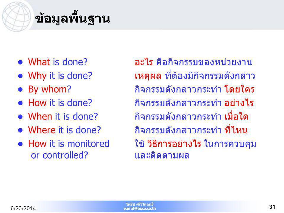 ไพรัช ศรีวิไลฤทธิ์ pairat@tisco.co.th 6/23/2014 31 ข้อมูลพื้นฐาน  What is done? อะไร คือกิจกรรมของหน่วยงาน  Why it is done? เหตุผล ที่ต้องมีกิจกรรมด