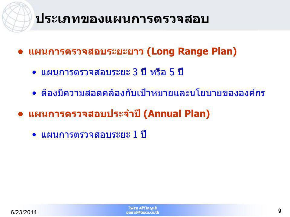 ไพรัช ศรีวิไลฤทธิ์ pairat@tisco.co.th 6/23/2014 9 ประเภทของแผนการตรวจสอบ  แผนการตรวจสอบระยะยาว (Long Range Plan) •แผนการตรวจสอบระยะ 3 ปี หรือ 5 ปี •ต