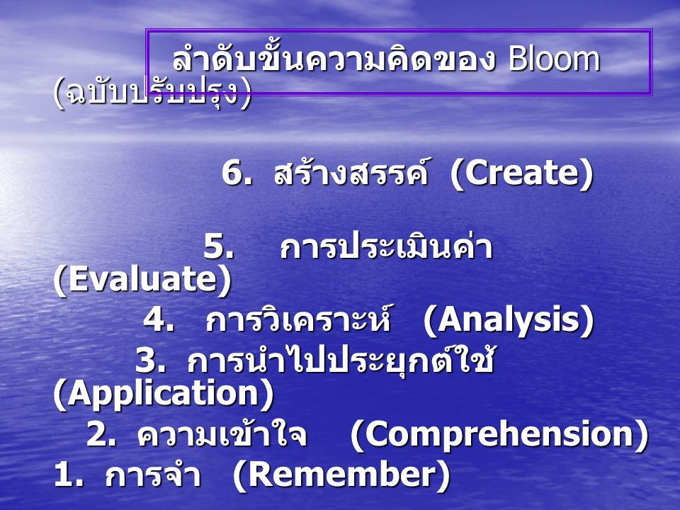 ลำดับขั้นความคิดของ Bloom ( ฉบับปรับปรุง ) ลำดับขั้นความคิดของ Bloom ( ฉบับปรับปรุง ) 6.