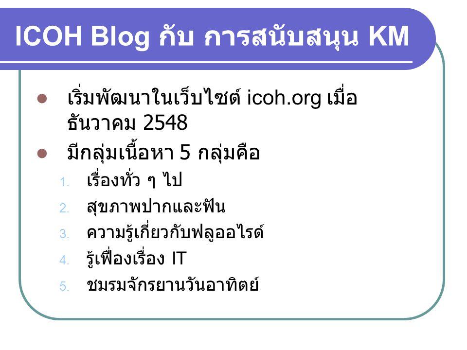 ICOH Blog กับ การสนับสนุน KM  เริ่มพัฒนาในเว็บไซต์ icoh.org เมื่อ ธันวาคม 2548  มีกลุ่มเนื้อหา 5 กลุ่มคือ 1. เรื่องทั่ว ๆ ไป 2. สุขภาพปากและฟัน 3. ค