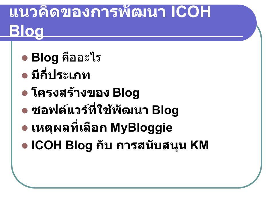 แนวคิดของการพัฒนา ICOH Blog  Blog คืออะไร  มีกี่ประเภท  โครงสร้างของ Blog  ซอฟต์แวร์ที่ใช้พัฒนา Blog  เหตุผลที่เลือก MyBloggie  ICOH Blog กับ กา