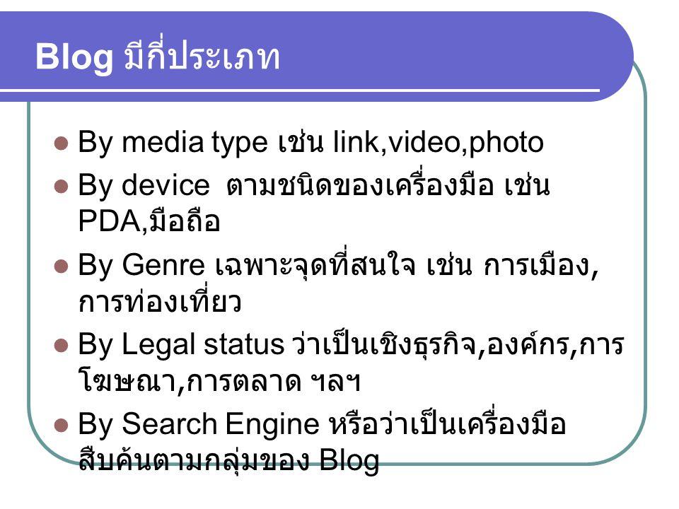 Blog มีกี่ประเภท  By media type เช่น link,video,photo  By device ตามชนิดของเครื่องมือ เช่น PDA, มือถือ  By Genre เฉพาะจุดที่สนใจ เช่น การเมือง, การ