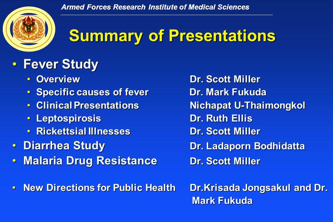 Armed Forces Research Institute of Medical Sciences การศึกษาเรื่องการเจ็บป่วยด้วยเรื่องไข้ ของประชากรผู้ใหญ่ ณ อำเภอสังขละ บุรี Surveillance of Febrile Illnesses of Adults in Sangkhlaburi District ระหว่างปี ๒๕๔๒ - ๒๕๔๖ โดยแผนกภูมิคุ้มกันและอายุรศาสตร์ สถาบันวิจัย วิทยาศาสตร์การแพทย์ทหาร Department of Immunology and Medicine AFRIMS Dr.