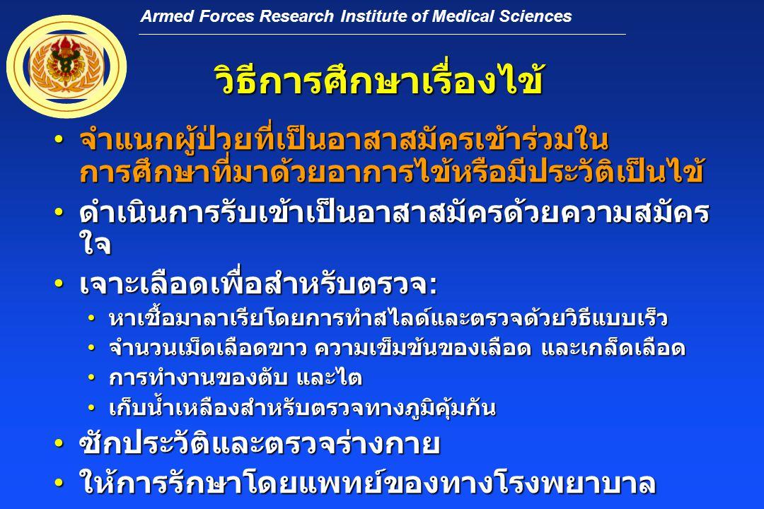Armed Forces Research Institute of Medical Sciences วิธีการศึกษาเรื่องไข้ • จำแนกผู้ป่วยที่เป็นอาสาสมัครเข้าร่วมใน การศึกษาที่มาด้วยอาการไข้หรือมีประวัติเป็นไข้ • ดำเนินการรับเข้าเป็นอาสาสมัครด้วยความสมัคร ใจ • เจาะเลือดเพื่อสำหรับตรวจ : • หาเชื้อมาลาเรียโดยการทำสไลด์และตรวจด้วยวิธีแบบเร็ว • จำนวนเม็ดเลือดขาว ความเข็มข้นของเลือด และเกล็ดเลือด • การทำงานของตับ และไต • เก็บน้ำเหลืองสำหรับตรวจทางภูมิคุ้มกัน • ซักประวัติและตรวจร่างกาย • ให้การรักษาโดยแพทย์ของทางโรงพยาบาล
