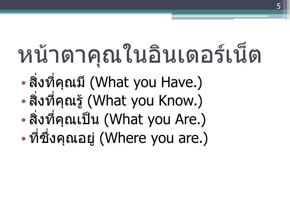 หน้าตาคุณในอินเตอร์เน็ต • สิ่งที่คุณมี (What you Have.) • สิ่งที่คุณรู้ (What you Know.) • สิ่งที่คุณเป็น (What you Are.) • ที่ซึ่งคุณอยู่ (Where you