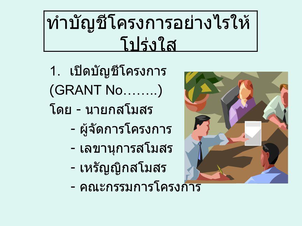 ทำบัญชีโครงการอย่างไรให้ โปร่งใส 1. เปิดบัญชีโครงการ (GRANT No……..) โดย - นายกสโมสร - ผู้จัดการโครงการ - เลขานุการสโมสร - เหรัญญิกสโมสร - คณะกรรมการโค