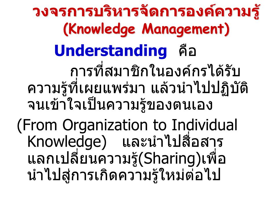 Understanding คือ การที่สมาชิกในองค์กรได้รับ ความรู้ที่เผยแพร่มา แล้วนำไปปฏิบัติ จนเข้าใจเป็นความรู้ของตนเอง (From Organization to Individual Knowledge) และนำไปสื่อสาร แลกเปลี่ยนความรู้(Sharing)เพื่อ นำไปสู่การเกิดความรู้ใหม่ต่อไปวงจรการบริหารจัดการองค์ความรู้ (Knowledge Management)