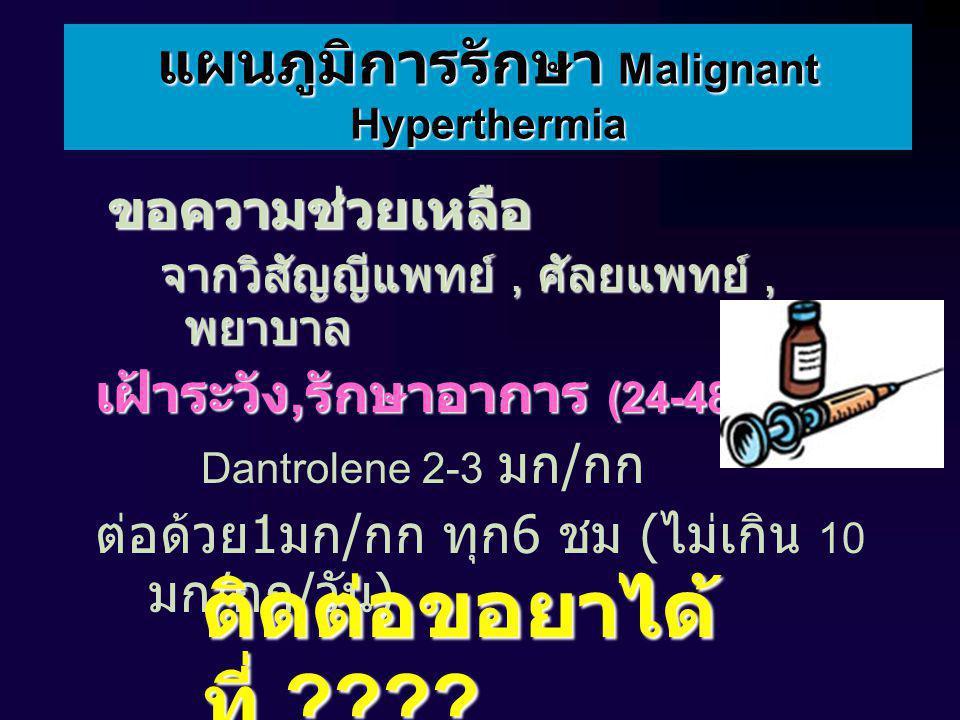 แผนภูมิการรักษา Malignant Hyperthermia ขอความช่วยเหลือ ขอความช่วยเหลือ จากวิสัญญีแพทย์, ศัลยแพทย์, พยาบาล เฝ้าระวัง, รักษาอาการ (24-48 ชม.